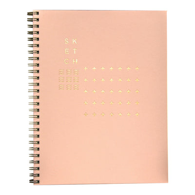 Rose quartz pink wire bound sketchbook with modern foil cover by Revel Paper
