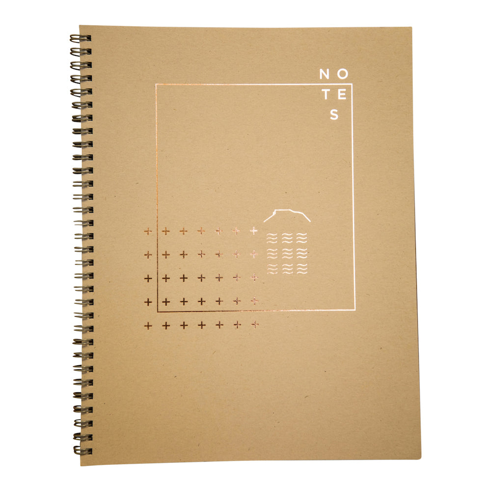 Shale wire bound notebook with copper foil cover by Revel Paper