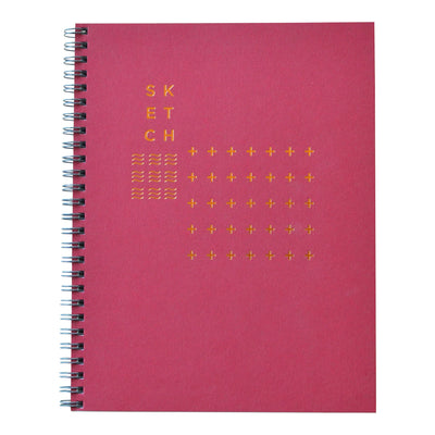 Revel Paper sketch book with crimson cover and modern copper foil design.