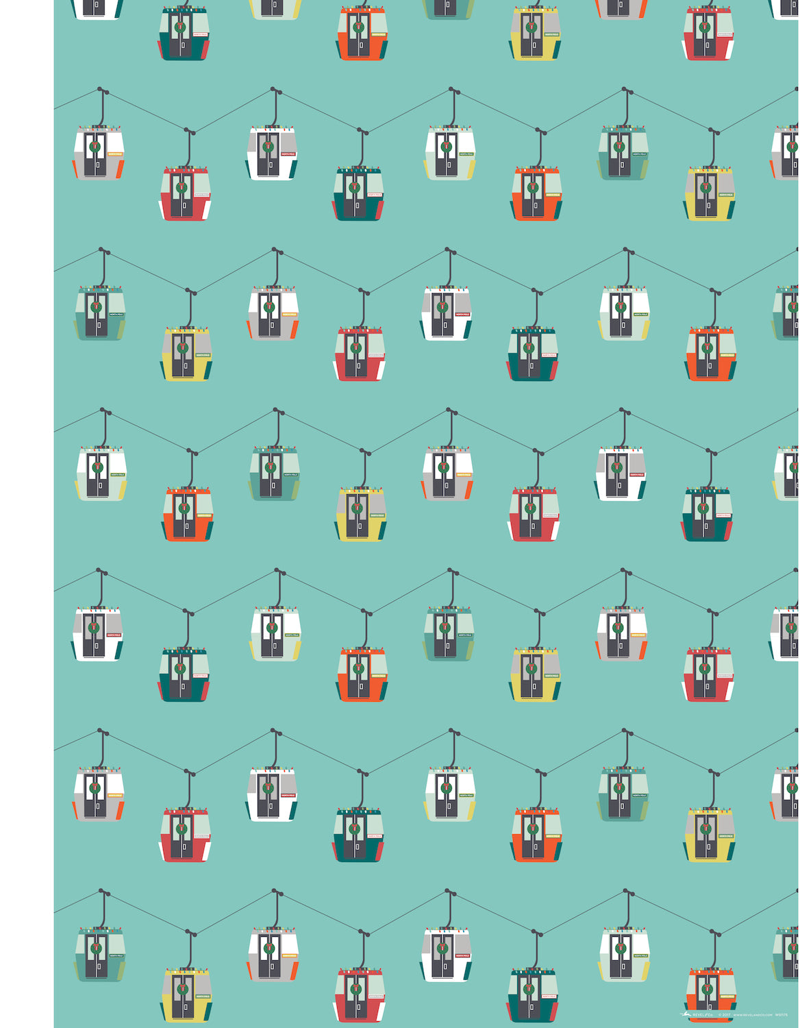 ski tram whimsical christmas wrapping paper by revel