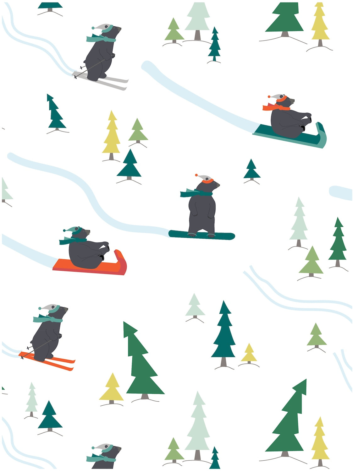 Snow bears whimsical Christmas gift wrap by Revel & Co.