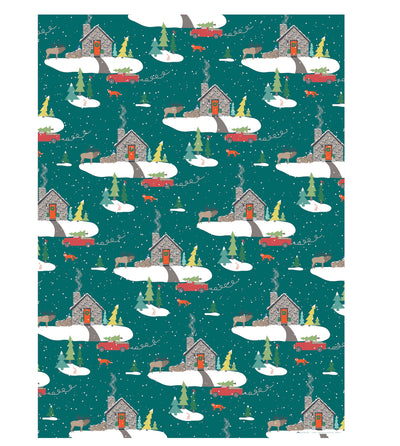 stone cabin Christmas gift wrap by Revel & Co.