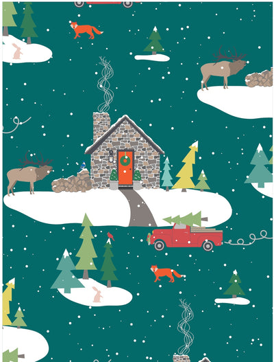Stone cabin in the mountains Christmas wrapping paper by Revel & Co.