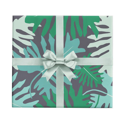 Big tropical monstera leaves wrapping paper by Revel & Co.
