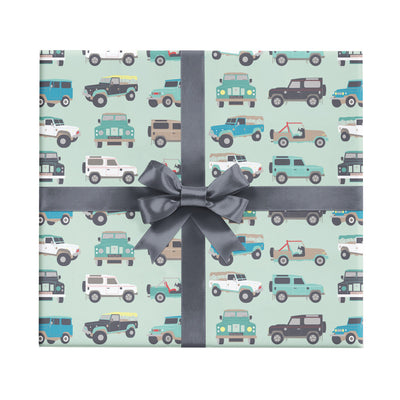 Children's wrapping paper with jeeps by Revel & Co.