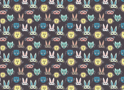 Animal masks children's wrapping paper by Revel & Co.