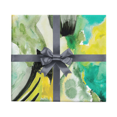 Mossy North Side green and black watercolor abstract wrapping paper by Revel & Co.