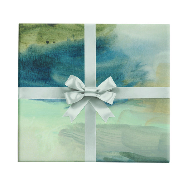 Wind Break green and blue watercolor abstract wrapping paper by Revel & Co.