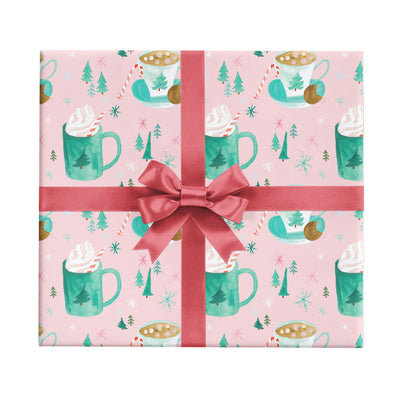 Cozy hot cocoa drinks Christmas wrapping paper by Revel & Co.