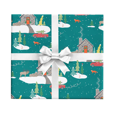 Stone cabin Christmas wrapping paper by Revel & Co.