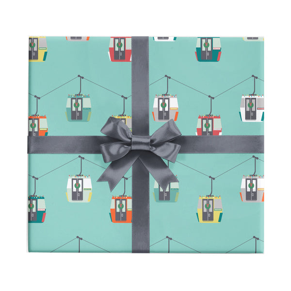 Gondolas Christmas wrapping paper for skiers by Revel & Co.