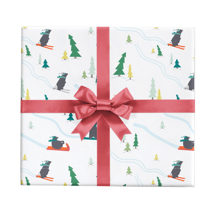 snow bears christmas wrapping paper for skiers by revel