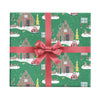 Ski chalet Christmas wrapping paper for snowboarders by Revel & Co.