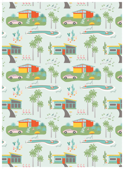 Christmas wrapping paper inspired by the Palm Springs desert, made in America by REVEL & Co.