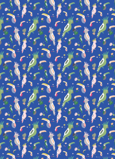 Tropical bird wrapping paper with toucans and cockatoos by REVEL & Co.