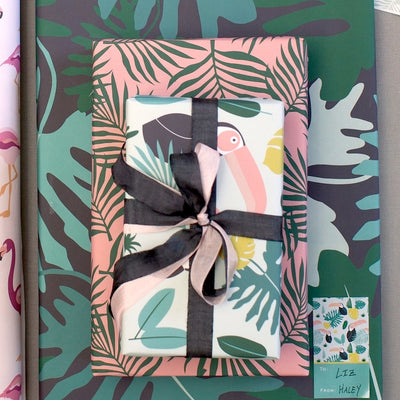 Monstera leaves tropical wrapping paper by Revel & Co.