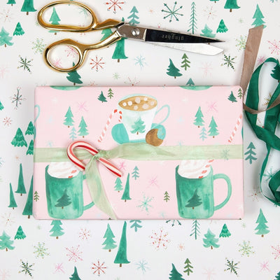 Hot cocoa and marshmallows feminine holiday wrapping paper by Revel & Co.