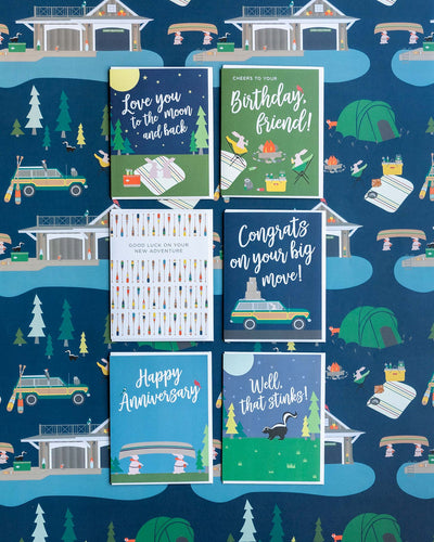 Summer camp fishing cards and gift wrap by REVEL & Co.
