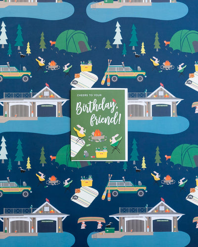 Summer camp birthday card and gift wrap by REVEL & Co.
