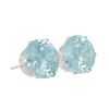 Earrings Sterling Silver Stud Earrings with Aqua Cubic Zirconia