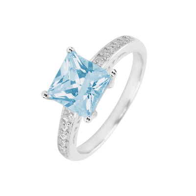 Ring With Aqua Square & Clear Cubic Zirconia In Sterling Silver