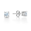 Earrings Sterling Silver Stud Earrings with Clear Cubic Zirconia