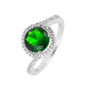 Ring With Emerald Circle & Clear Cubic Zirconia In Sterling Silver