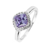 Ring With Lavender & White Cubic Zirconia In Sterling Silver