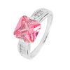 Ring With Square Pink & Clear Cubic Zirconia In Sterling Silver
