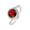 Ring With Ruby Circle & Clear Cubic Zirconia In Sterling Silver
