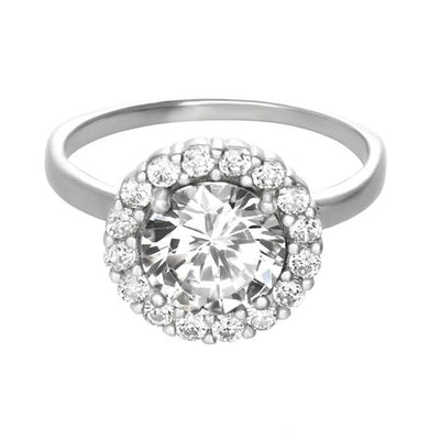 Ring With Round Halo Clear Cubic Zirconia In Sterling Silver
