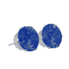Earrings Sterling Silver Stud Earrings with Blue Sapphire Cubic Zirconia