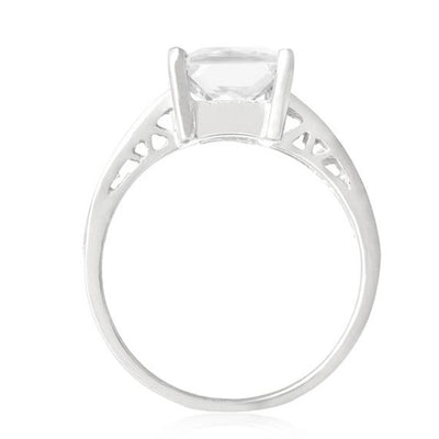 Ring With Pink Square & Clear Cubic Zirconia In Sterling Silver
