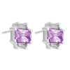 Earrings Sterling Silver Emerald Amethyst Cubic Zirconia