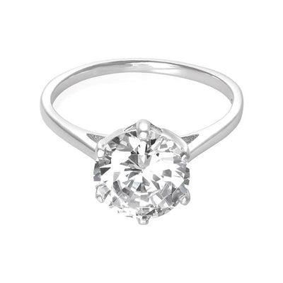Ring With Clear Solitaire Cubic Zirconia In Sterling Silver
