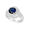 Ring With Blue Sapphire & Clear Cubic Zirconia In Sterling Silver