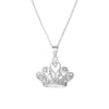 Pendant Crown Necklace With Cubic Zirconia In Sterling Silver