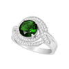 Ring With Emerald & Clear Cubic Zirconia In Sterling Silver