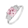 Ring With Pink & Clear Cubic Zirconia In Sterling Silver