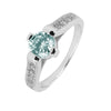 Ring With Aqua Cubic Zirconia In Sterling Silver