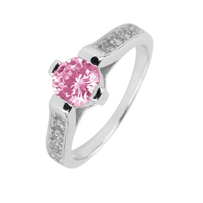 Ring With Pink Cubic Zirconia In Sterling Silver