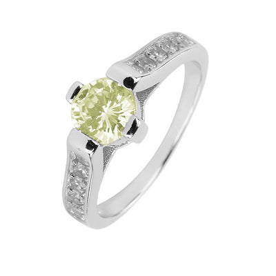 Ring With Peridot Cubic Zirconia In Sterling Silver
