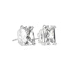 Earrings Sterling Silver Emerald Stud Earrings with Clear Cubic Zirconia
