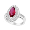 Ring With Ruby & Clear Cubic Zirconia In Sterling Silver