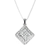 Pendant Necklace With Cubic Zirconia In Sterling Silver