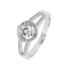 Ring With Clear Halo Cubic Zirconia In Sterling Silver - Free with $150 orders