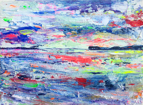 Vibrant art, Devon Painting, Wild Art, Chloe Art, Chloe Gallery, Chloe Gallery UK, Chloe Tinsley, Small Original Painting for Sale, Colourful Art, Colourful painting, Topsham Art, River Exe Art, dynamic art, inspiring art, British art, plein air art, weathered paintings