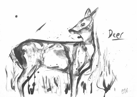 Deer print, dear art, deer art, love deer, deer in grass, deer painting, deer ink, buy deer art online, online deer art, Yorkshire deer art, red deer art, doe deer art, wild art, deer ink, pausing deer print
