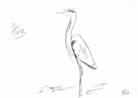 Heron art, heron drawing, heron illustration, heron print, heron art print, Heron Painting, Heron Original, Heron, Bird Art, Buy Bird Art, Wildlife Art, Bird Paintings, bird paintings for sale, bird drawings for sale, twitcher art, symbolic birds, standing heron art, wild bird art, animal art