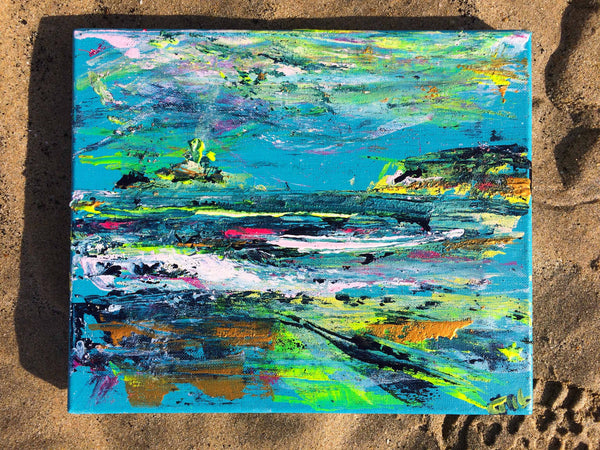 godrevy lighthouse, godrevy beach, st ives bay, dynamic art, chloe art, st ives art, blue painting, blue canvas, small canvas, cornish art, chloe art, chloe tinsley, chloe gallery, chloe gallery uk, love art, love paintings, rewilding, online art gallery, inspiring art cornwall, plein air cornwall, colourist, en plein air, Gwithian Beach